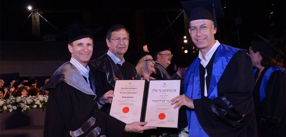 Dr. Haim Shaked receiving his PhD Certificate